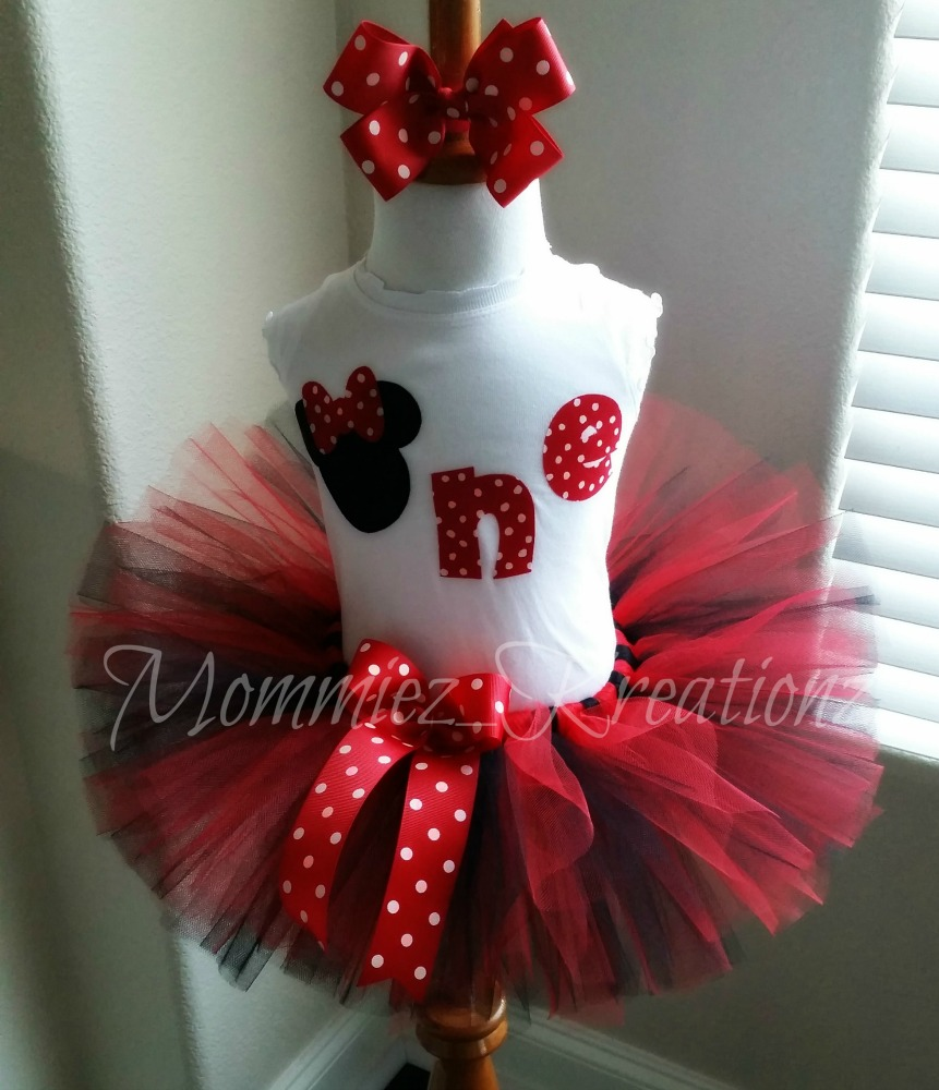 Minnie mouse tutu, Minnie 1st first birthday outfit, Red Minnie Tutu,Embroidered