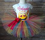 Emoji Kiss Birthday Tutu Set, Emoji Tutu