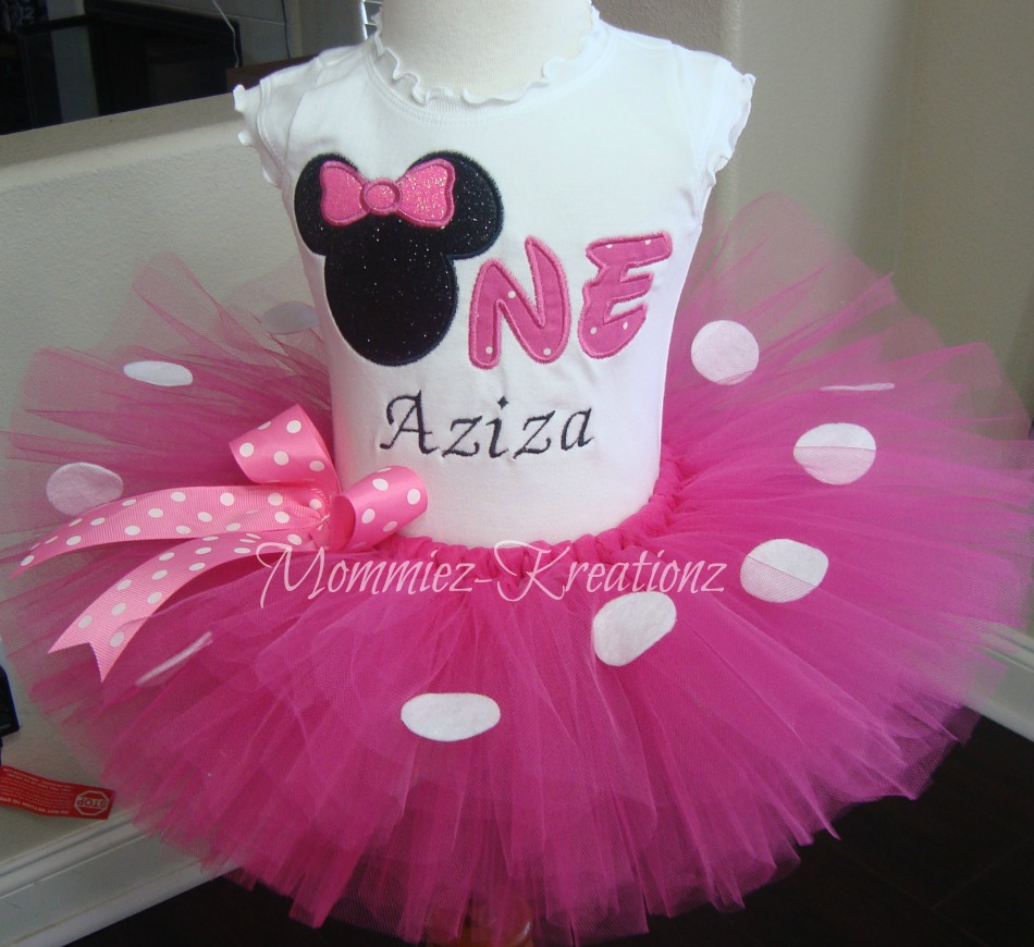 Minnie Pink 1st Birthday Embroidered Tutu Set